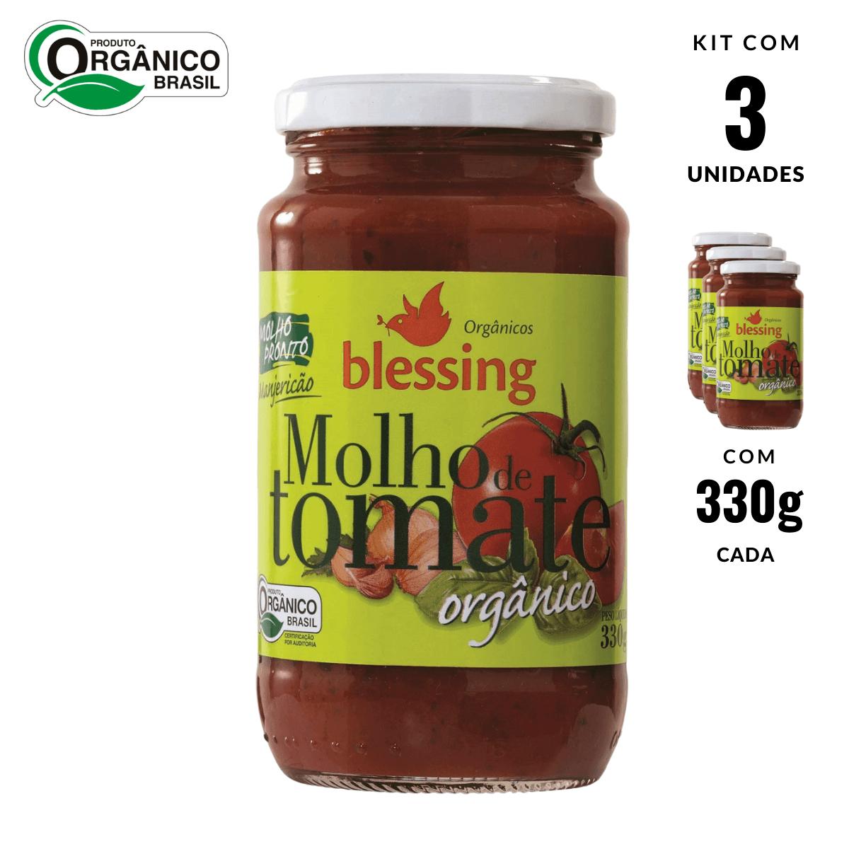 Molho de Tomate Orgânico c Manjericão Blessing 3und 330g cad
