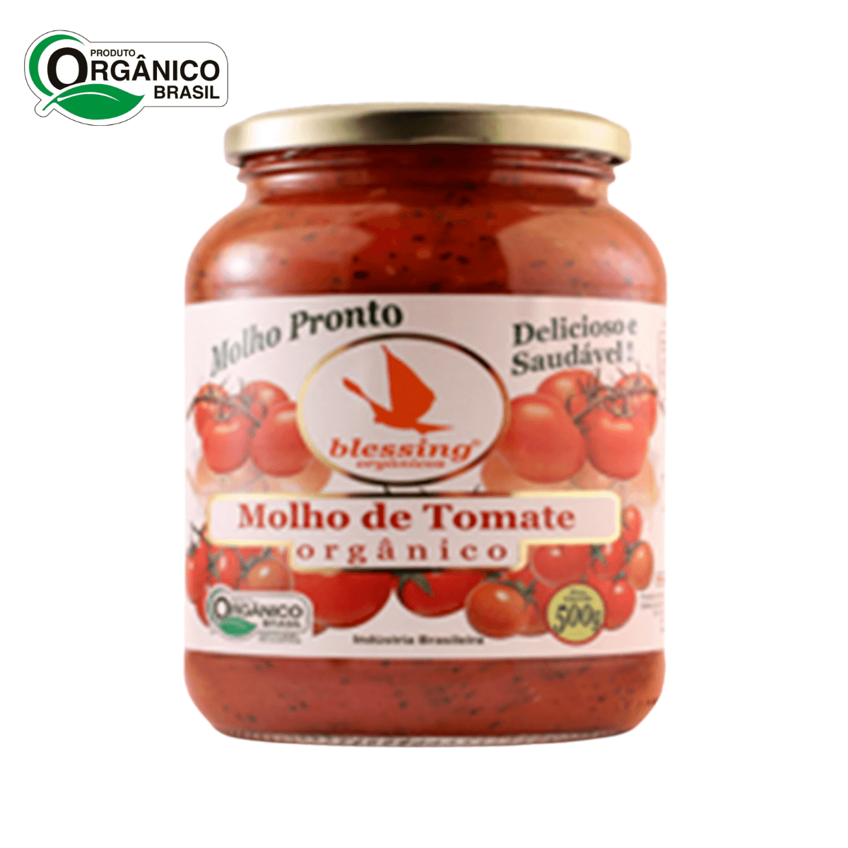 Molho de Tomate Orgânico Cebola Alho Manjeric Blessing 500gr