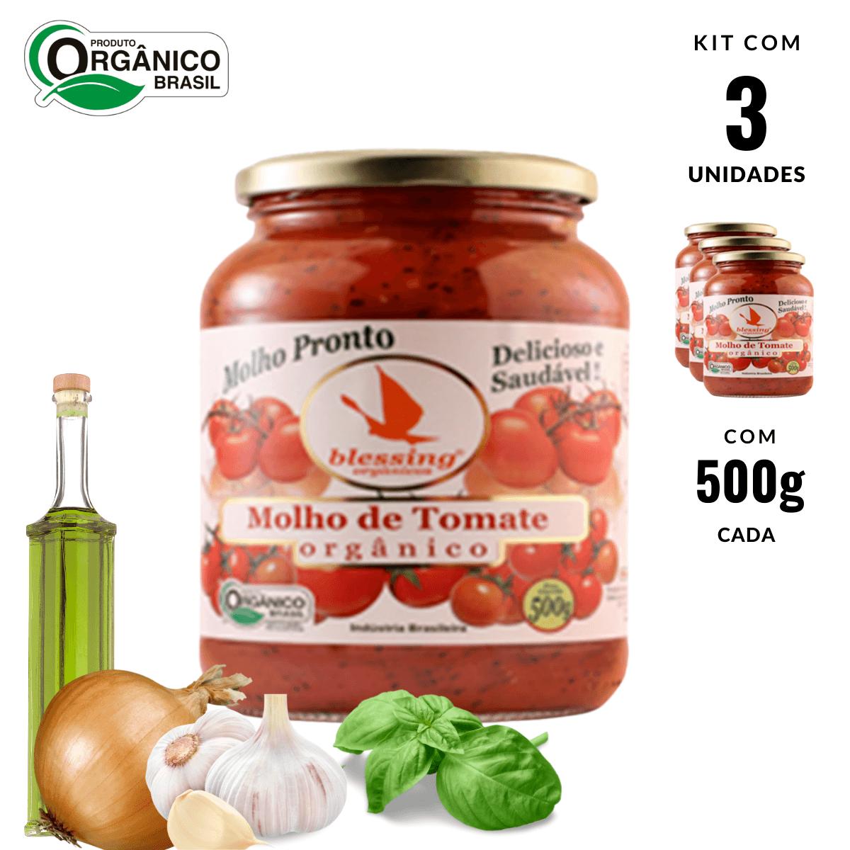 Molho de Tomate Orgânico Cebola Alho Manjericão Blessing 3un
