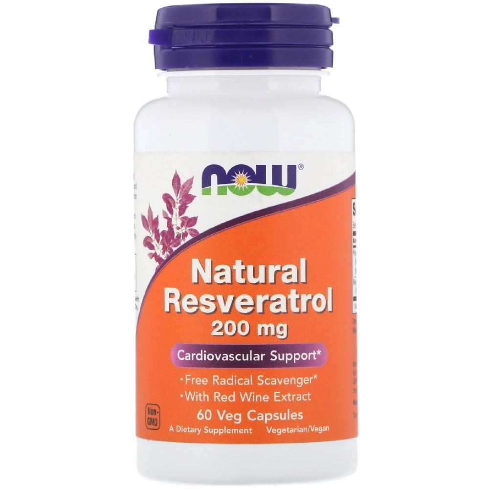 Natural Resveratrol 200 mg 60 Cáps. Now Foods