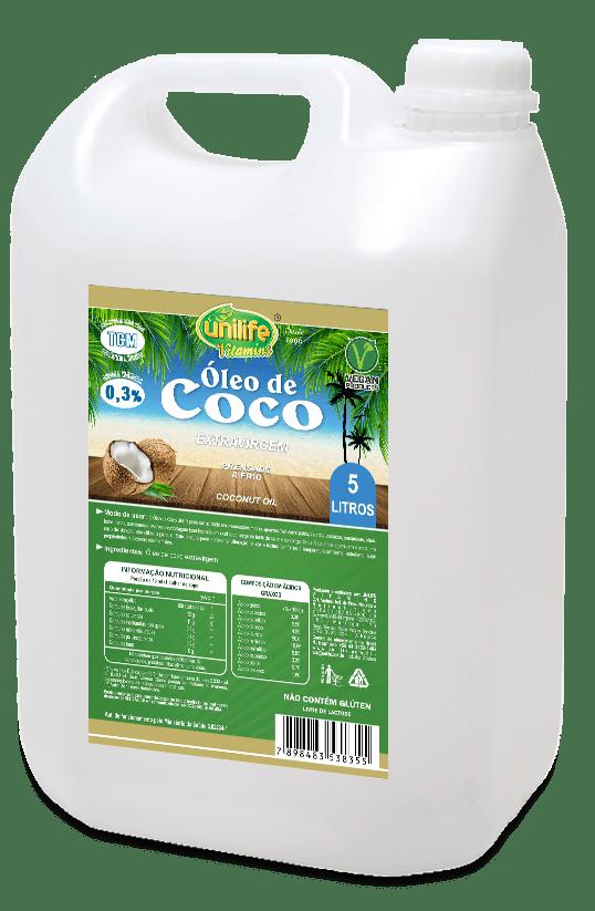 Óleo de Coco 100% Puro Extra virgem 5 Litros Unilife