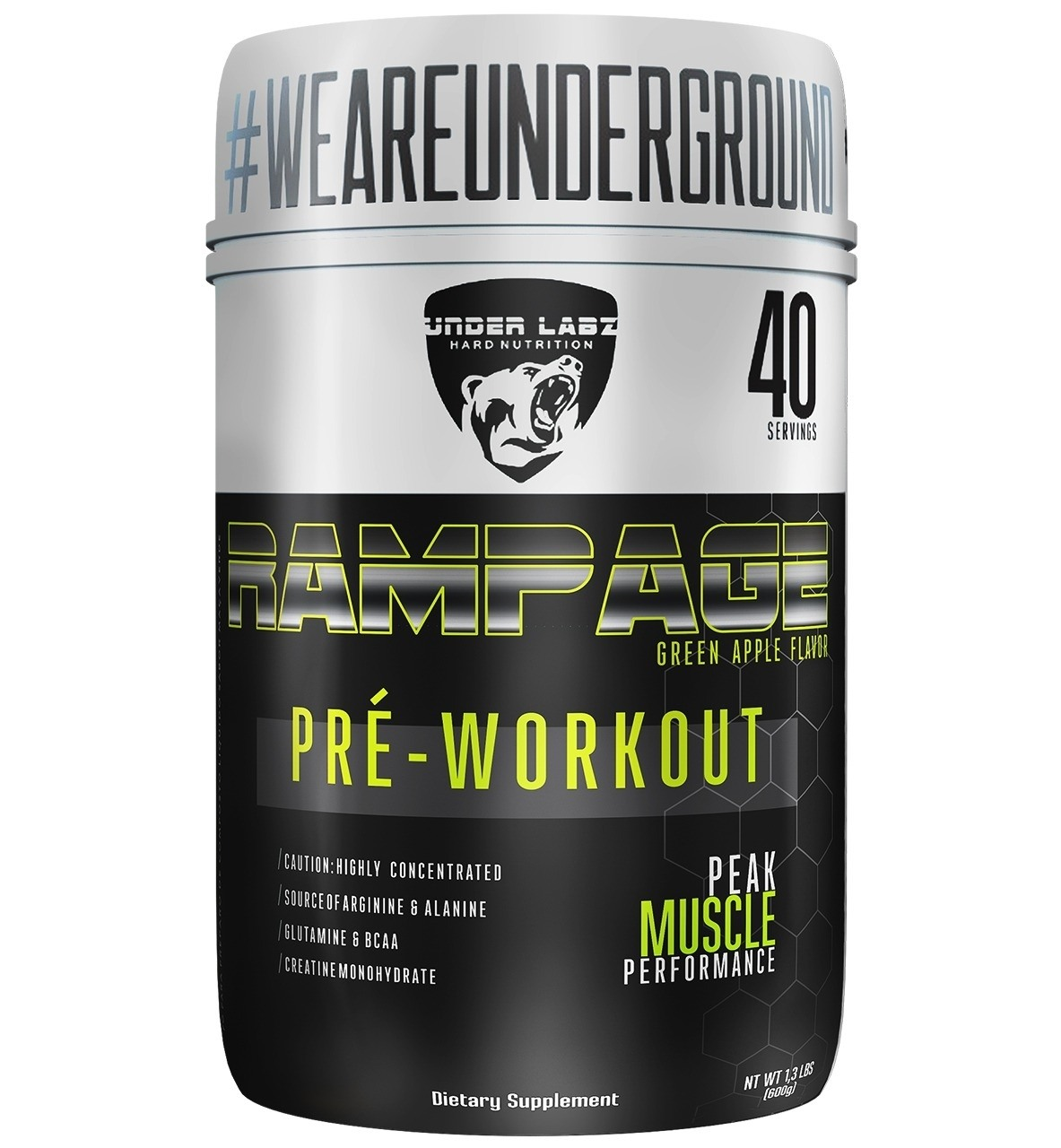 Rampage 600G Green Apple Flavor Under Labz