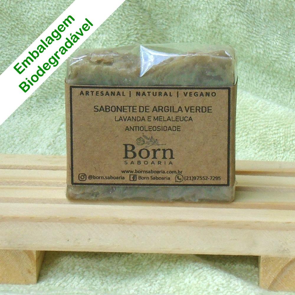 Sabonete Natural e Vegano - Argila Verde - Anti Oleosidade - Born Saboaria