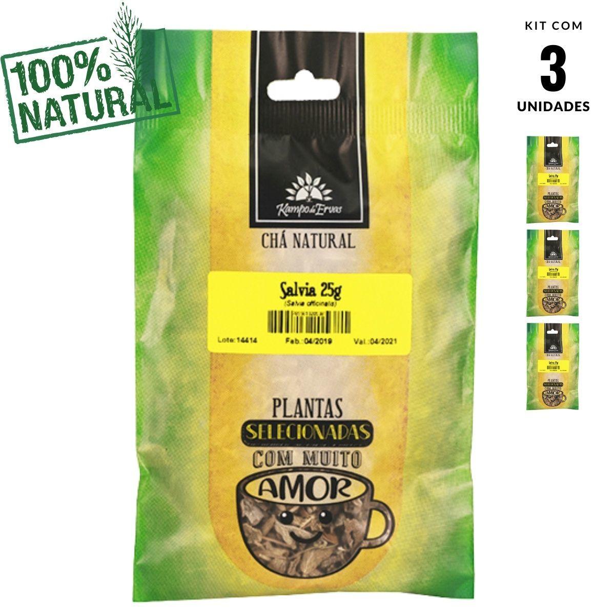Sálvia Chá Natural só Folhas Kampo de Ervas 3und 25g cada