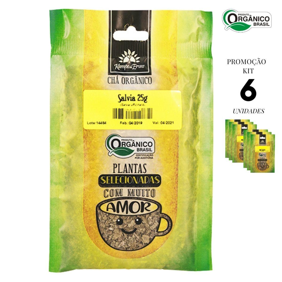Sálvia Chá Orgânico só Folhas Kampo de Ervas 6 und 25g cada