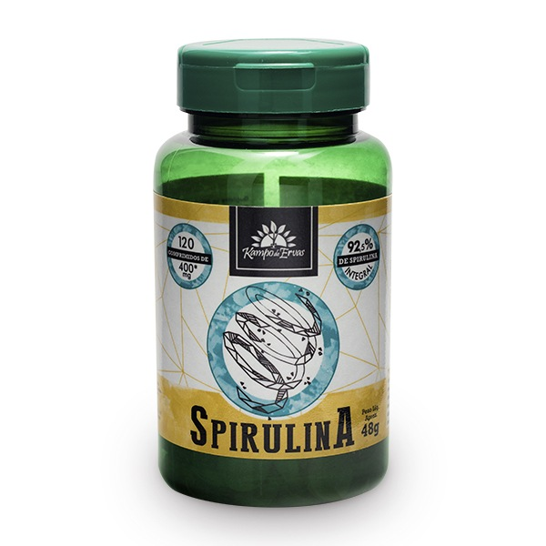 Spirulina Integral 92,5 % - 120 comp. de 400 mg Alga Azul