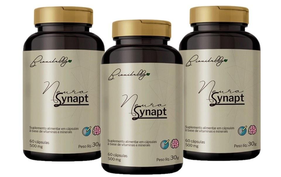 Suplemento Alimentar Neurosynapt 60 Cápsulas 500mg 3 Unidades
