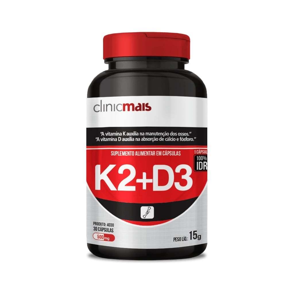 Suplemento de Vitamina K2 e D3 30 Cápsulas 500mg