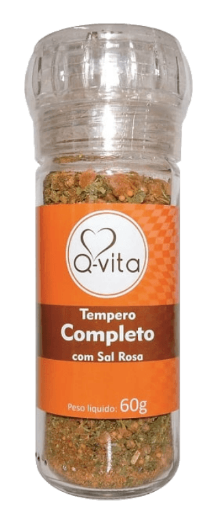 Tempero Completo Com Sal Rosa 60g - Q-vita