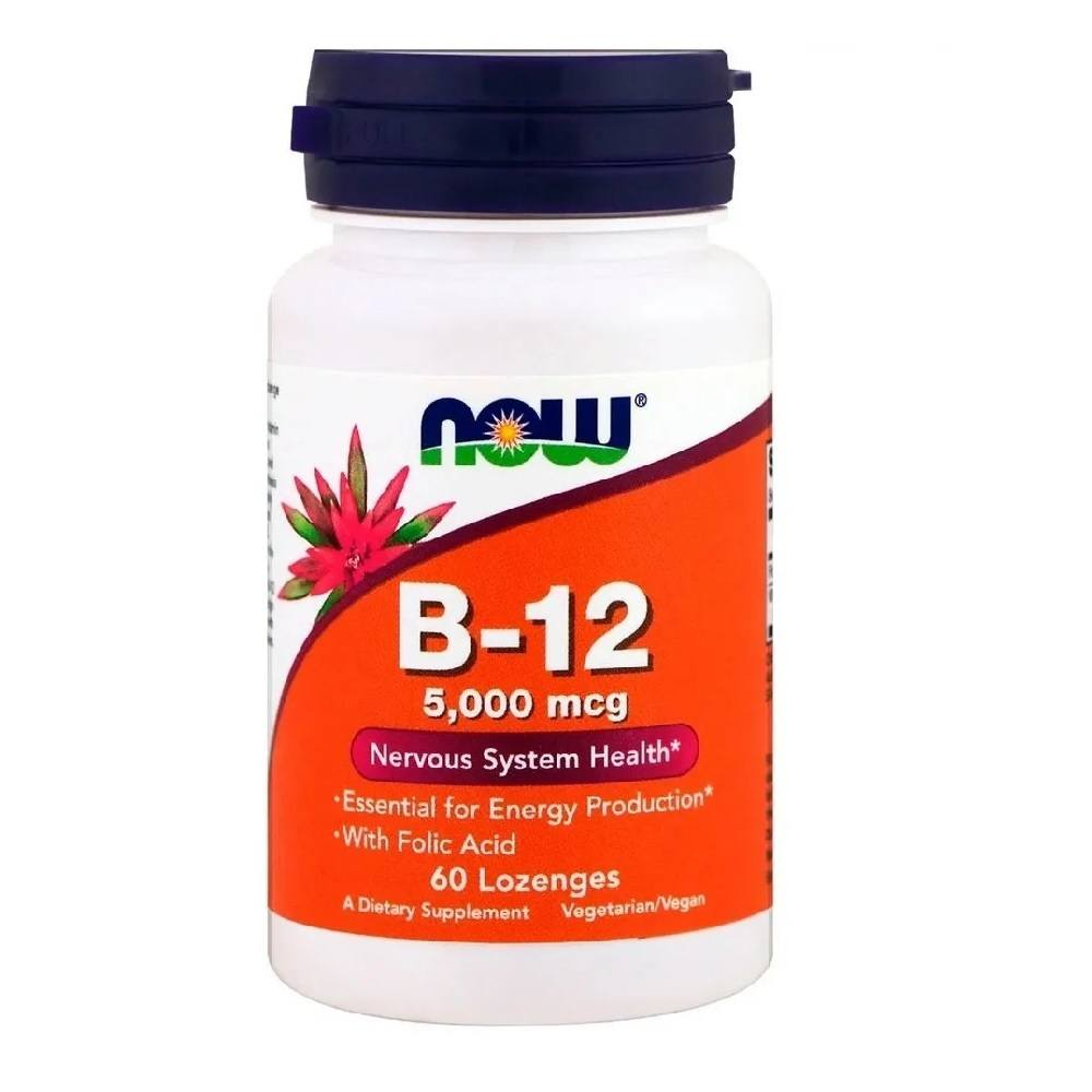 Vitamina B12 5000 mcg c/ Acido Fólico 60 Lozenges Now Foods