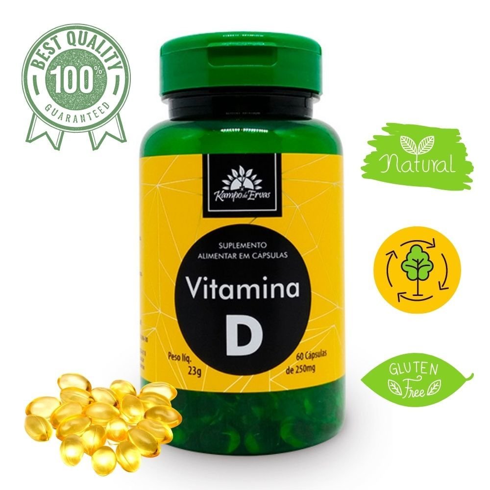 Vitamina D 5mcg 200 UI Kampo de Ervas 60 cáps de 250 mg cada