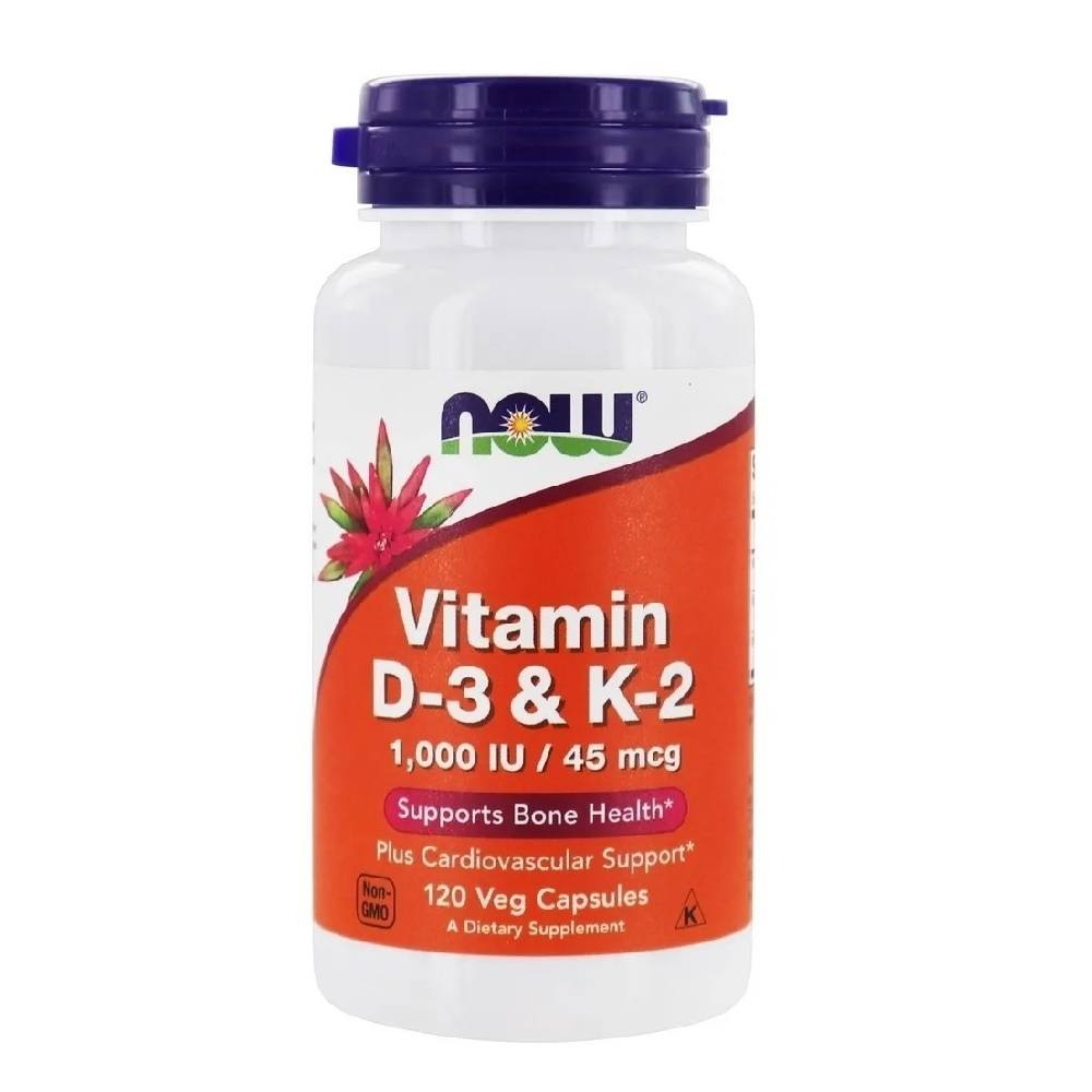 Vitamina D3 1.000 IU & K2 45 mcg 120 Cáps. Now Foods
