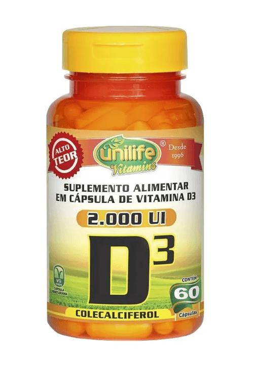 Vitamina D3 2.000 Ui Colecalciferol Unilife 60 Cápsulas