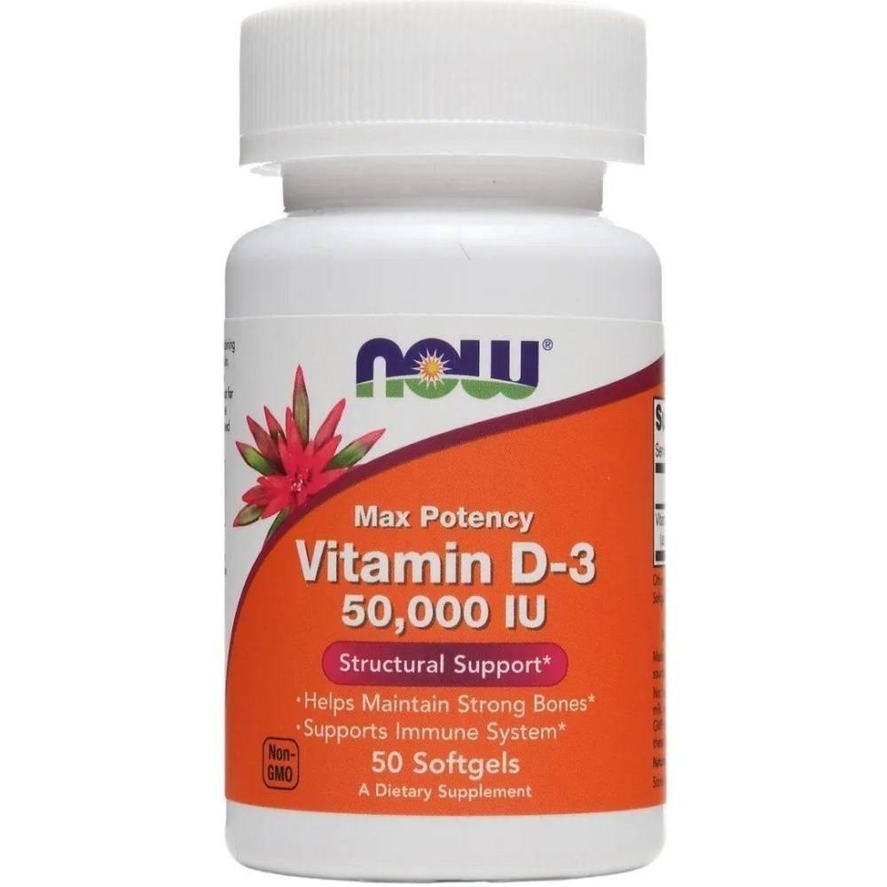 Vitamina D3 50.000 IU 50 Softgels Now Foods