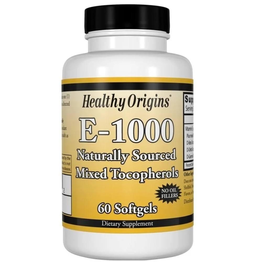 Vitamina E 1000 IU 60 Softgels Healthy Origins