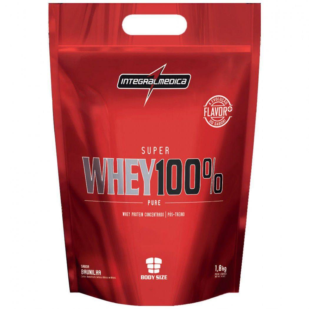 Whey 100% Pure Body Size Refil 1,8Kg Morango Integralmédica
