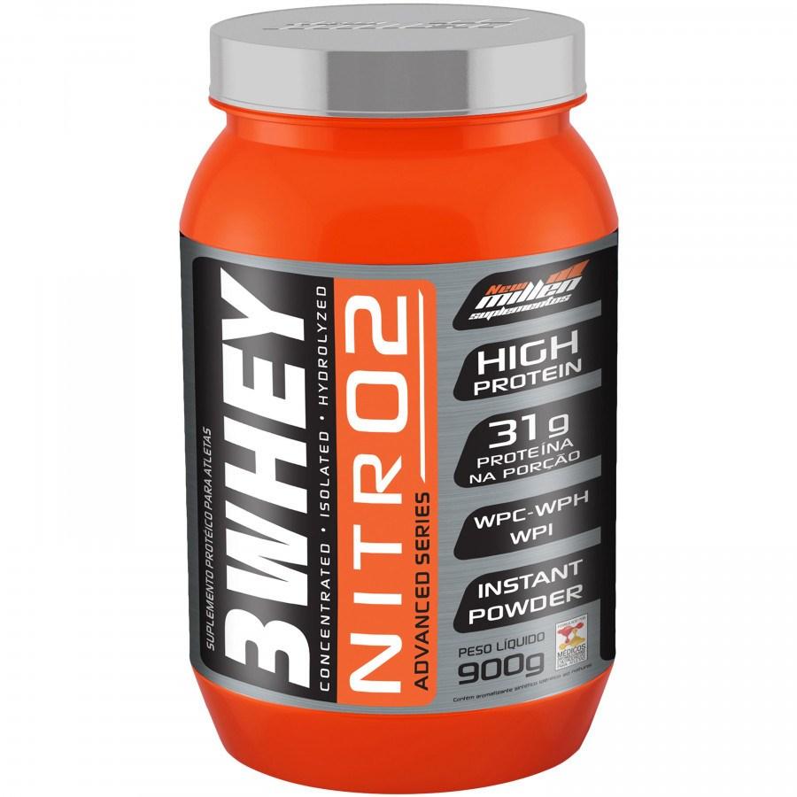 Whey 3W Protein Nitro2 Morango 900Gr New Millen