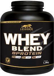 Whey Blend 8 Protein - Pote 1.8 Kg - Morango Leader Nutrition