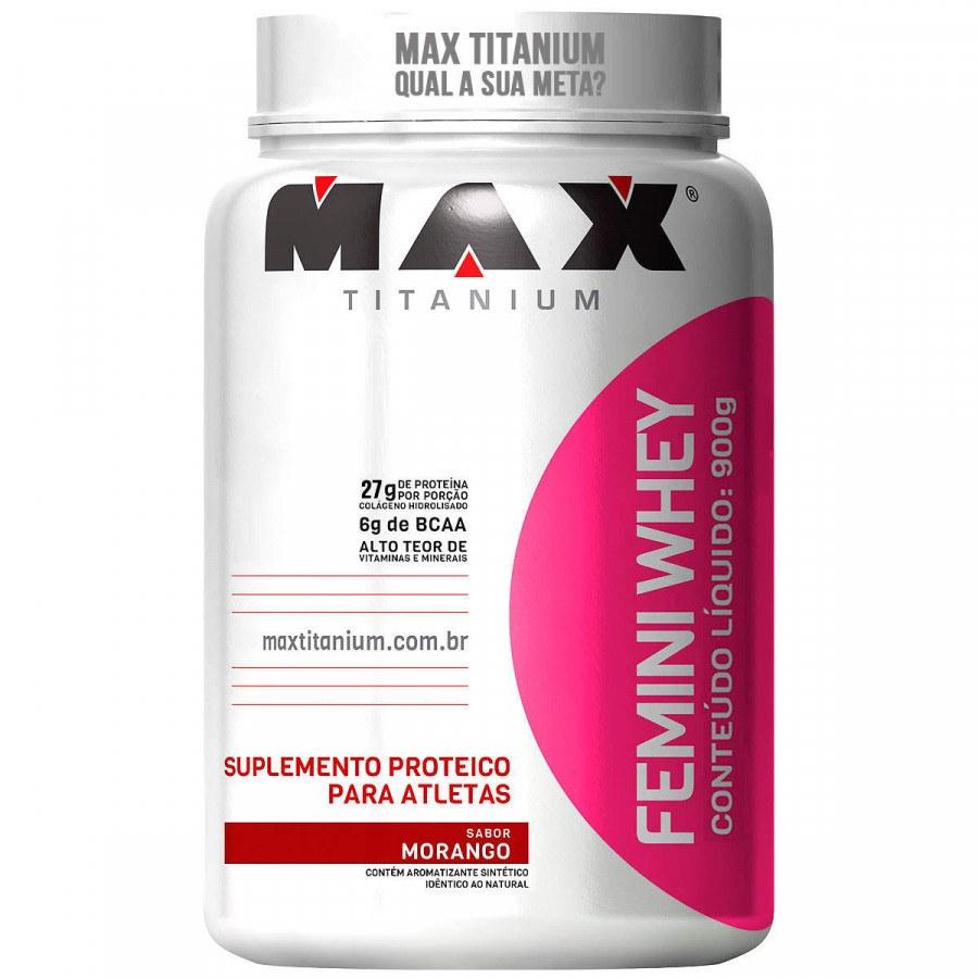 Whey Protein Femini Whey 900G Morango Max Titanium