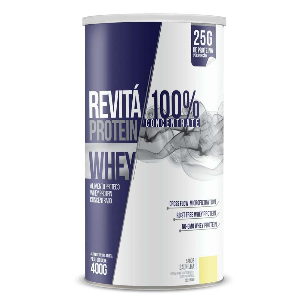 Whey Protein Revitá 100% Concentrate 400g Sabor Baunilha