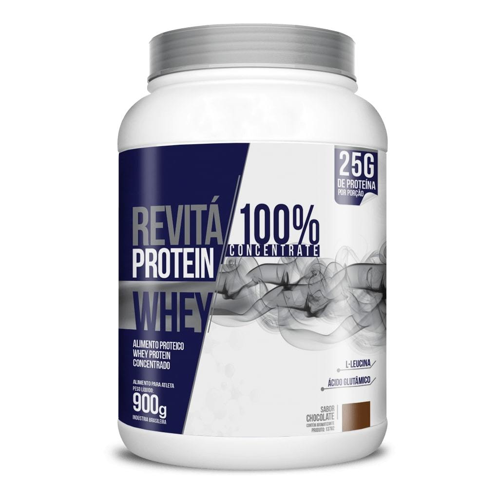 Whey Protein Revitá 100% Concentrate 900g Sabor Chocolate