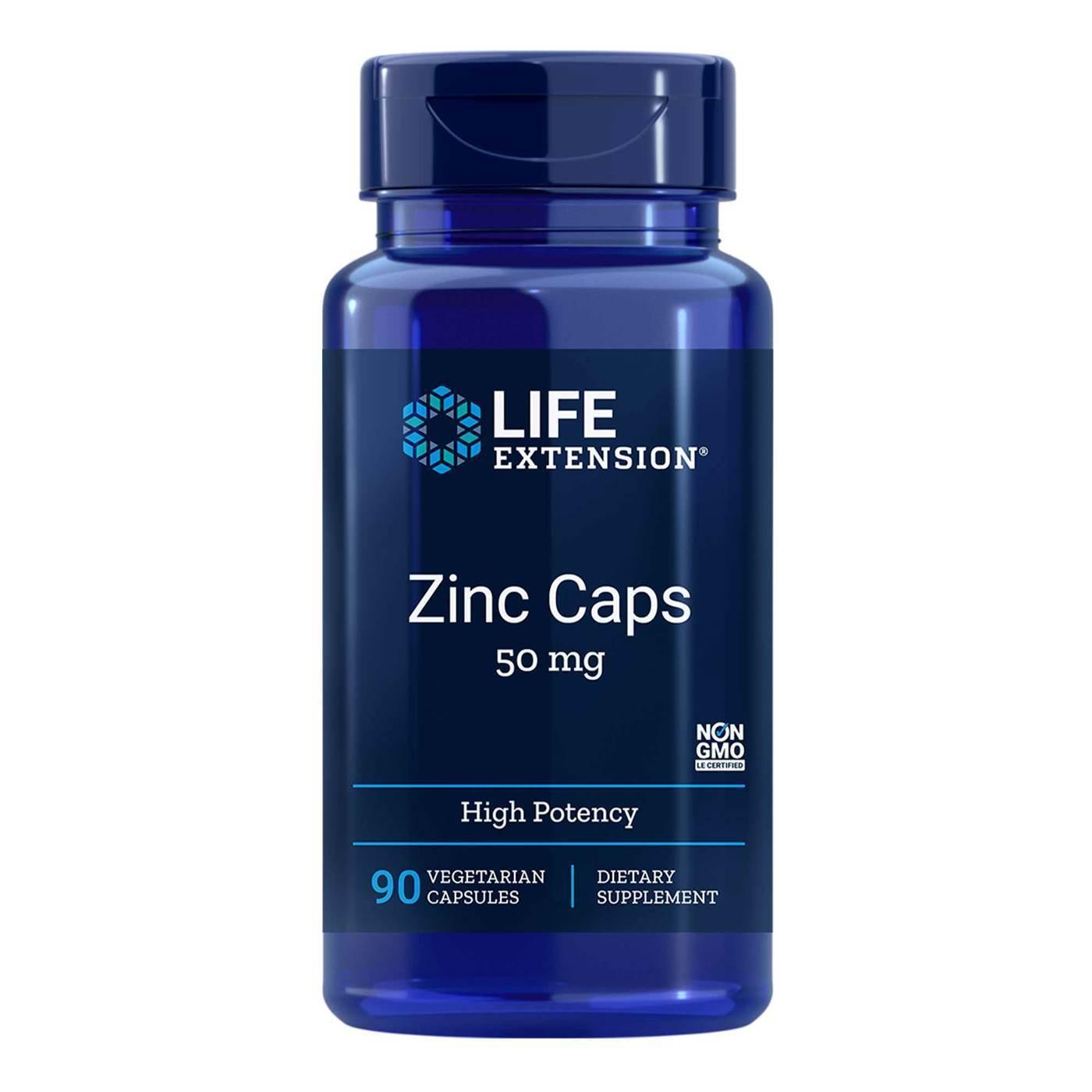 Zinco 50mg 90 cápsulas Alta Potência Life Extension Importado EUA Antioxidante Estimula a função da tireoide Previne o câncer e o envelhecimento