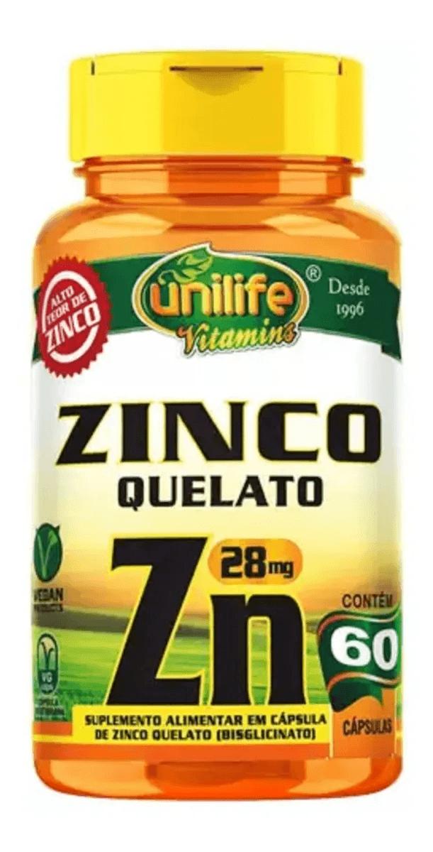 Zinco Zn Bisglicinato Unilife 60 Cápsulas