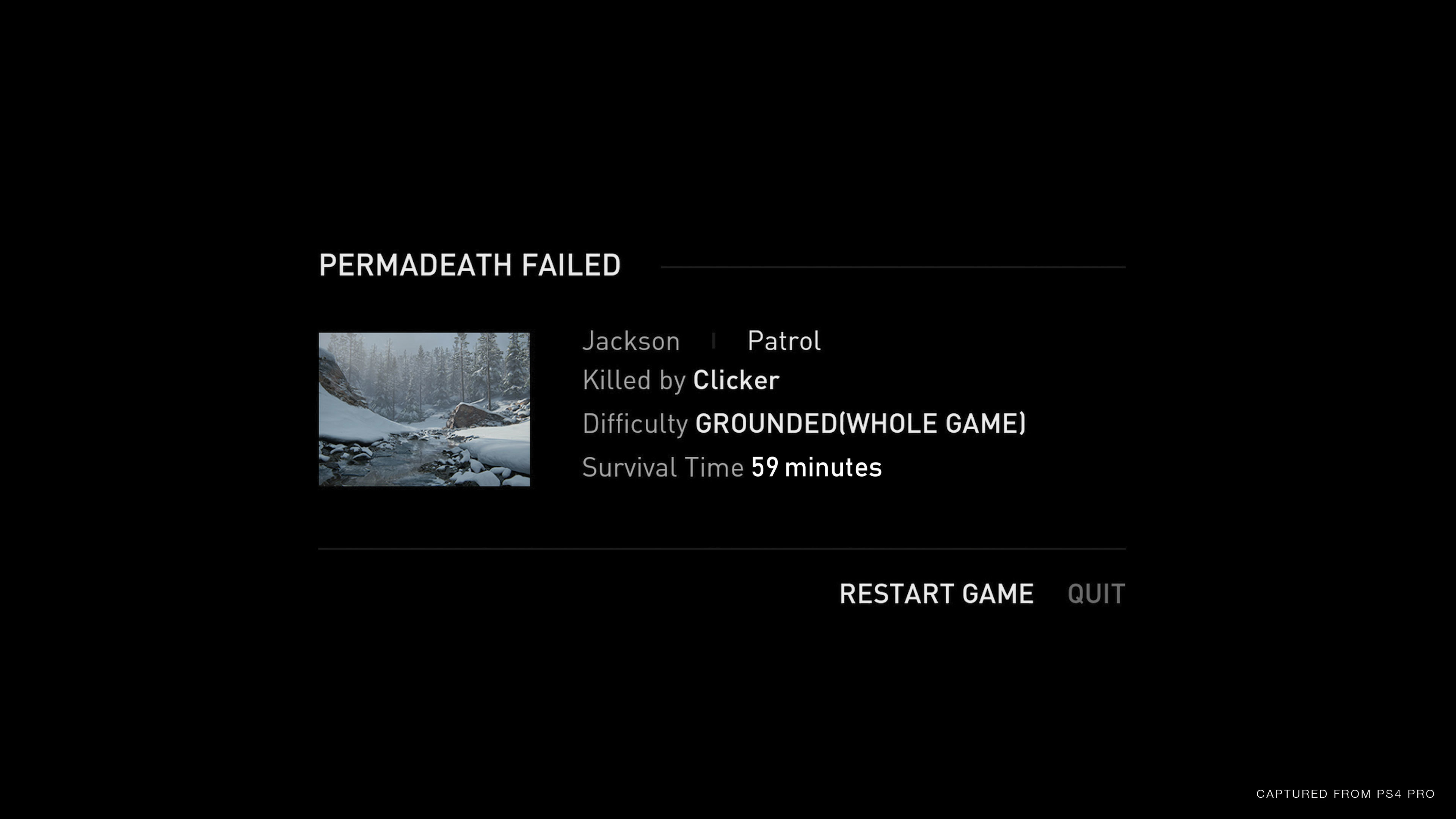 Permadeath failed screen showing: Jackson Patrol, Killed by Clicker, Difficulty Grounded (Whole Game), Survival Time 59 minutes, and Restart Game or Quit