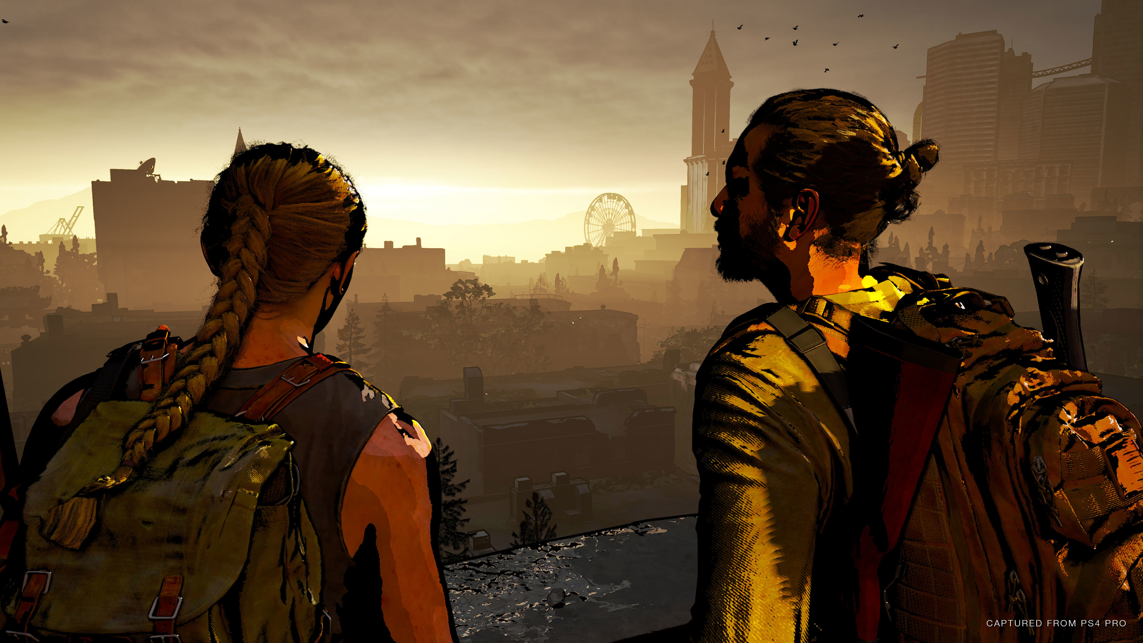 Abby and Manny look out at the Ferris Wheel in the distance with the Dungeon render mode over the image.