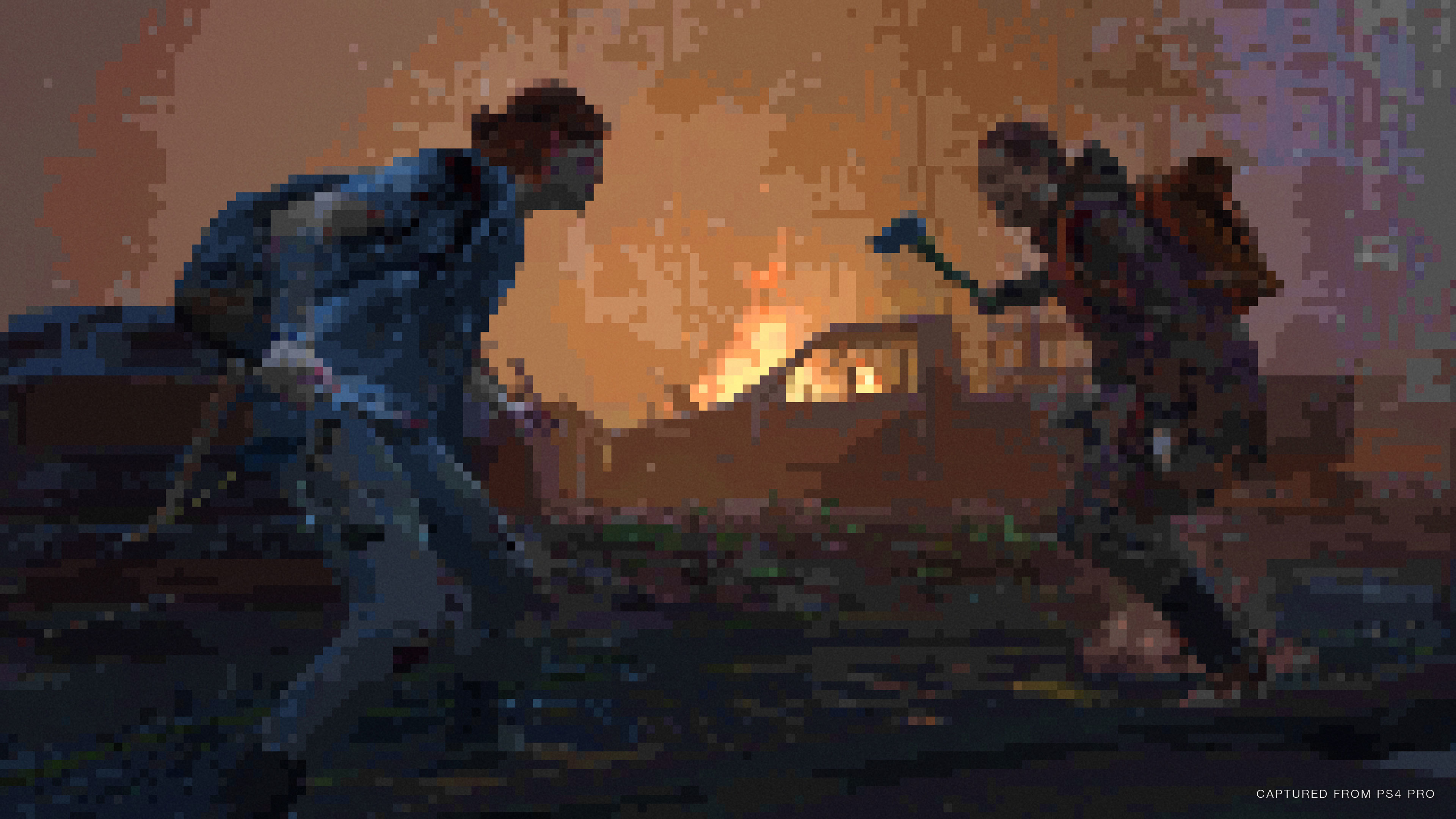 Ellie stands to the left of an enemy brandishing an axe against a fire lit background with the 8-bit render mode over the action.