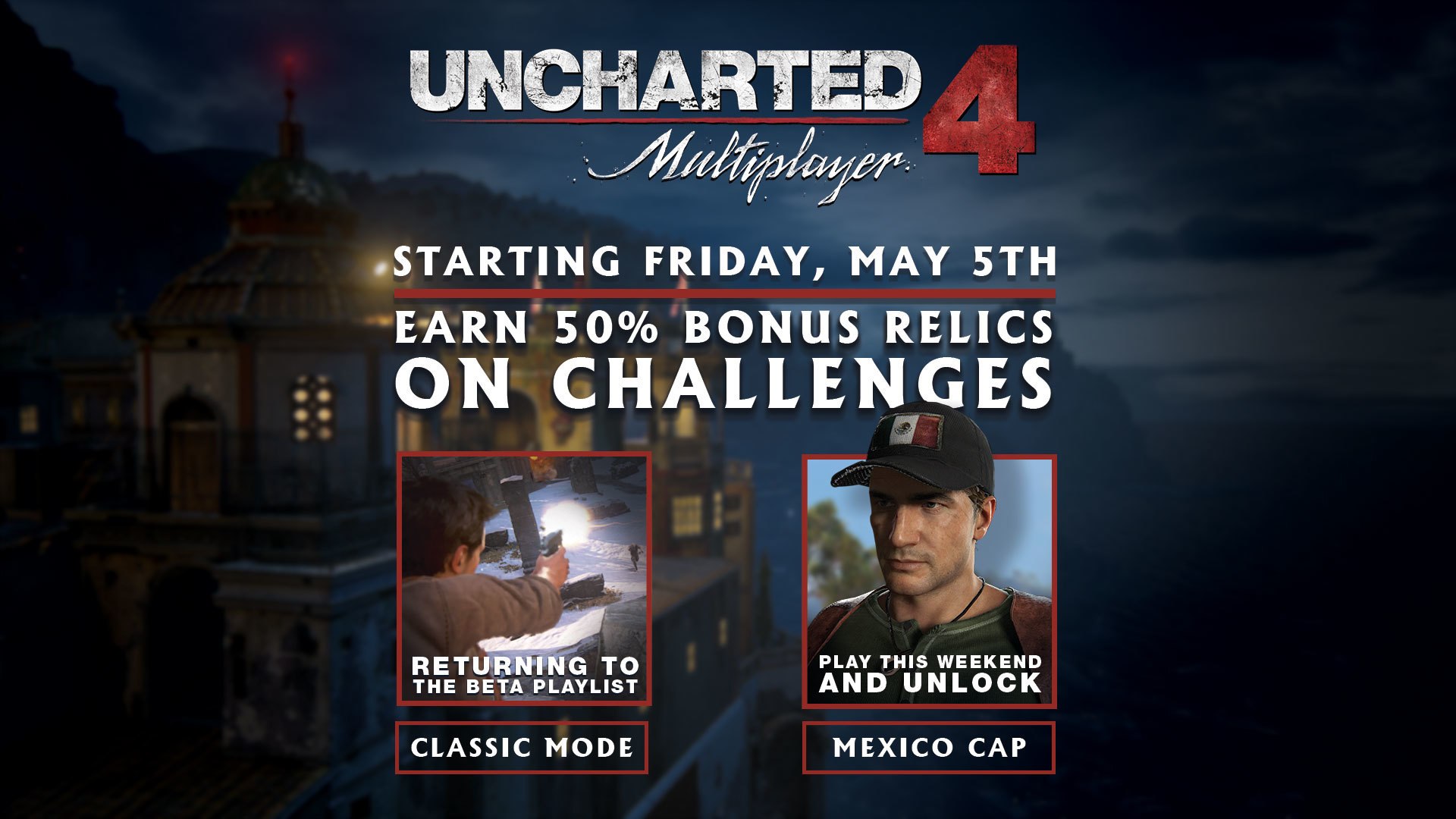 Uncharted 4 Multiplayer: Classic Mode Returns, Relic Bonus Weekend, and Free Hat Giveaway