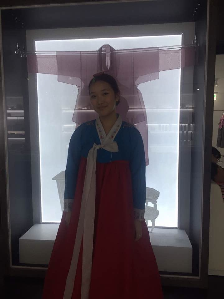 Elaine in traditional Korean dress