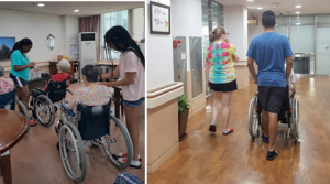 NSLI-Y participants feed fruit yogurt to the Korean senior citizens (left) and take a walk with an elder citizen around the center (right).