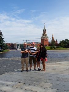 Anjali and her host family pictured outside Russian monument.