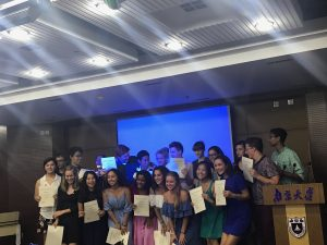 Pictured is the NSLI-Y China Summer 2017 cohort with their completion certificates