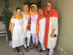 Picture of the five students volunteering in India