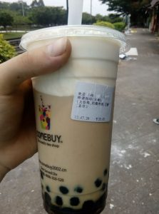 David's favorite drink in China, bubble tea.
