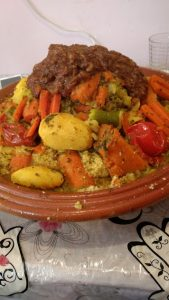Pictured is couscous with tfaya.