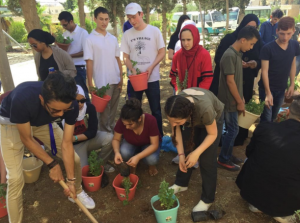 NSLI-Y students helping plant a tree