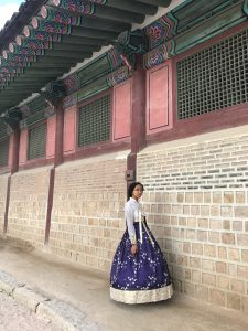 Danielle pictured wearing a traditional Korean outfit