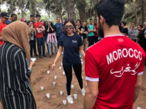 NSLI-Y student participating in a blindfolded maze