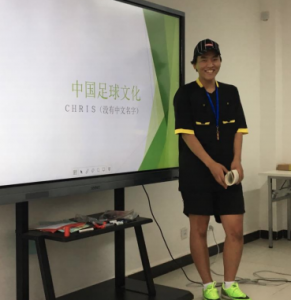 Chris Park dressed the part for his presentation on Soccer Culture in China