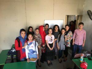Vanessa at Afghan refugee center