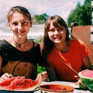 Kristin eating food abroad