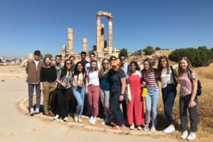 NSLI‐Y students pose in front of ruins at the Amman Citadel