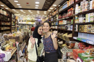 Student with her host sister at an outlet store