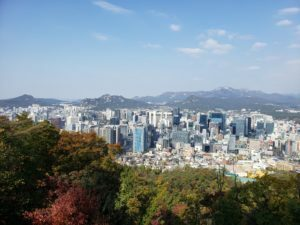 An autumn day in Seoul with a view of the city