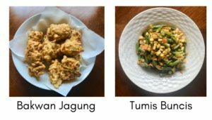 Two Indonesian dishes: Bakwam Jagung and Tumis Buncis.