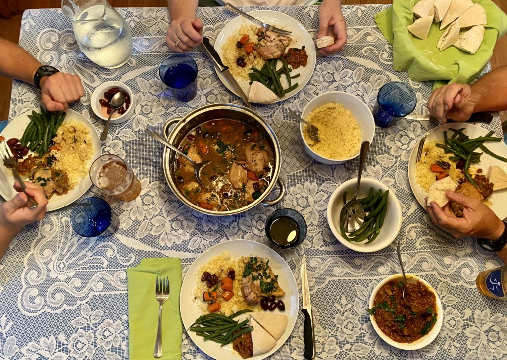 Xenia sharing an authentic Moroccan meal with her family