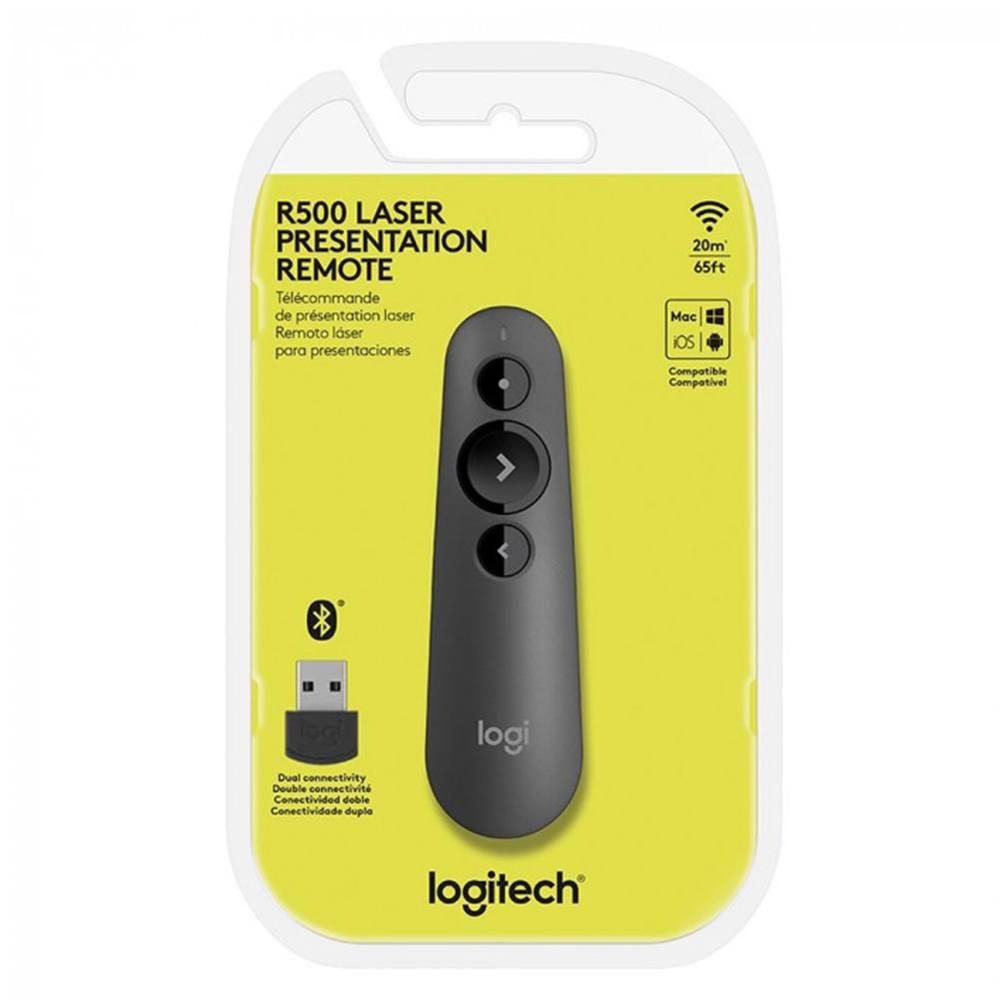 Apresentador Logitech R500 Sem Fio com Laser Point Vermelho 20m Cinza